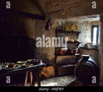 Medieval kitchen in Castle Rushen museum on the Isle of Man - Stock Photo