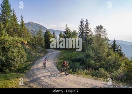 Two mountain biker friends riding on dirt road through forest, Zillertal, Tyrol, Austria - Stock Photo