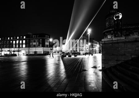 The Hull Blade Sculpture at night in queen Victoria square  A ribbon across the city - Stock Photo