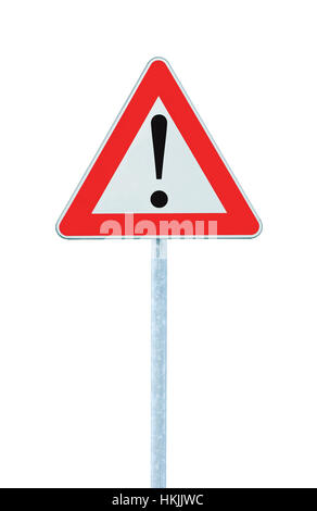 Other Danger Ahead Warning Road Sign, Pole Post, Isolated Vertical Closeup - Stock Photo