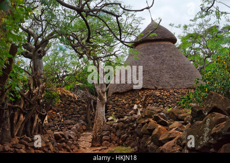 Konso Cultural Landscape (UNESCO World Heritage site), stone houses with thatched roof, Ethiopia - Stock Photo