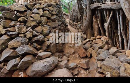 Konso Cultural Landscape (UNESCO World Heritage site), stone house, Ethiopia - Stock Photo