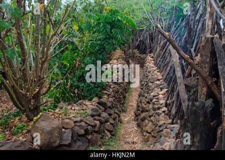 Konso Cultural Landscape (UNESCO World Heritage site), village with stone wall, Ethiopia - Stock Photo