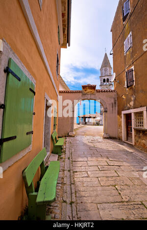 Town of Visnjan square and church, Istria, Croatia - Stock Photo