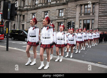 Lochiel Marching Drill Team in Glasgow George Square appearing in the Edinburgh Military Tattoo. - Stock Photo