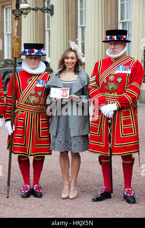 Athlete Jessica Ennis after she received her Commander of the British Empire (CBE) medal from Queen Elizabeth II - Stock Photo