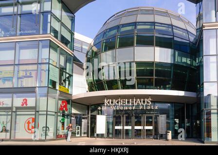 Dresden: Business and office buildings Kugelhaus am Wiener Platz, , Sachsen, Saxony, Germany - Stock Photo