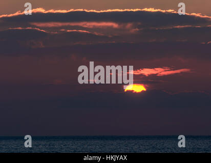 Sunset in Aberystwyth, Wales - Stock Photo