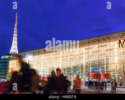 Wien, Vienna: fair Wien with Messeturm, visitors, 02., Wien, Austria - Stock Photo