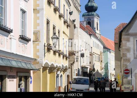 Krems an der Donau: street Steiner Landstraße, church Nikolauskirche in Stein, Wachau, Niederösterreich, Lower Austria, - Stock Photo