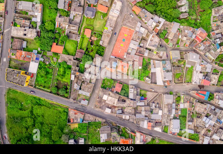 Aerial View With Streets In Banos De Agua Santa, Tungurahua Province, South America - Stock Photo