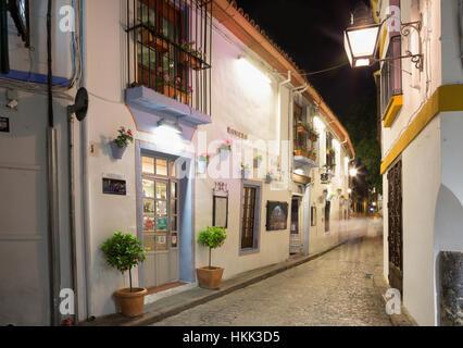 CORDOBA, SPAIN - MAY 26, 2015: The aisle in Juderia (Jewish quarter) at night. - Stock Photo