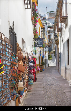 CORDOBA, SPAIN - MAY 26, 2015: The aisle in old town with the little schops. - Stock Photo