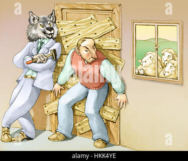 a man thinks that the danger is out and closes at home barring the door with the help of a big bad wolf - Stock Photo