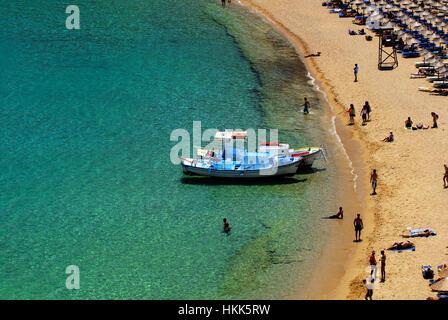 Super Paradise Beach, Mykonos, Cyclades, Greece - Stock Photo