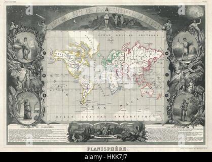 1847 Levasseur Map of the World - Geographicus - Planisphere-levassuer-1847 - Stock Photo