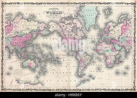 1862 Johnson Map of the World on Mercator Projection - Geographicus - WorldMerc-johnson-1862 - Stock Photo