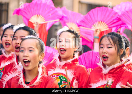 Madrid, Spain. 28th January, 2017. Chinese neighbours celebrate the New Year of Rooster Parade that takes place - Stock Photo