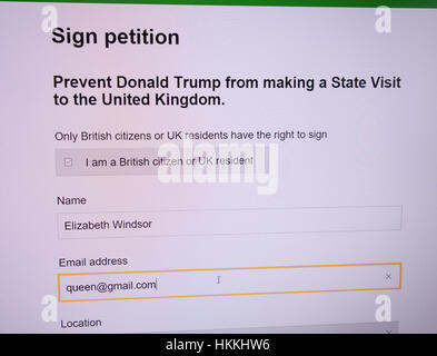 A petition to protest President Trumps restrictions on muslim visitors has achieved over the 100,000 needed to prompt - Stock Photo