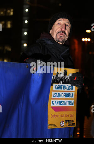 Manchester, UK. 29th Jan, 2017. Anti-racism campaigner at the solidarity with Muslims rally in St. Peter's Square, - Stock Photo