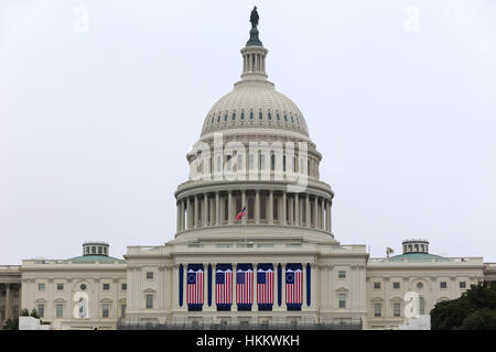 US Capitol adorned with historic US Flags for the Inauguration - Stock Photo