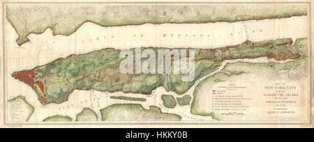 1878 Bien and Johnson Map of New York City (Manhattan Island) During the Revolutionary War - Geographicus - NewYorkCity - Stock Photo