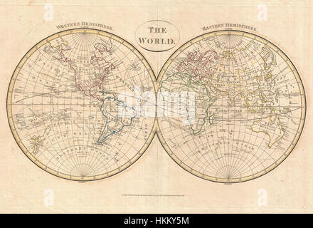 1799 Cruttwell Map of the World in Hemispheres - Geographicus - WorldHemisphere-cruttwell-1799 - Stock Photo