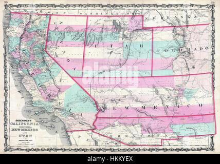 1862, Johnson Map of California, Nevada, Utah, Colorado, New Mexico ...