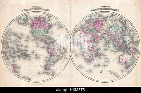 1862 Johnson Map of the World on Hemisphere Projection - Geographicus - WorldHemi-johnson-1862 - Stock Photo