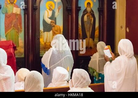 Pilgrims celebrating Meskel Festival at Holy Trinity Cathedral, Addis Ababa, Ethiopia - Stock Photo