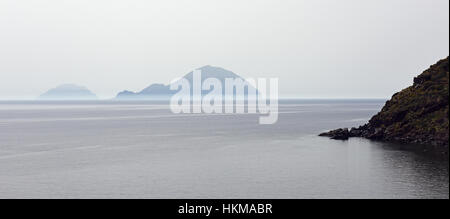 View of Filicudi and Alicudi from Salina, Aeolian Islands - Stock Photo