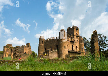 Fasilides' Castle in fortress-city of Fasil Ghebbi founded by Emperor Fasilides, UNESCO World Heritage site, Gondar, - Stock Photo