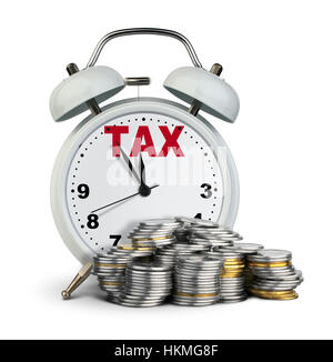 Alarm clock with money, tax time concept - Stock Photo