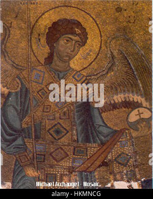 Archangel Michael - Gelati Monastery Byzantine Mosaic (circa 1125-1130) - Stock Photo