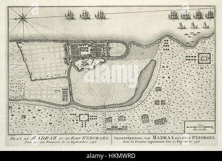 AMH-8024-KB Map of Madras and Fort St. George - Stock Photo