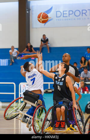 Buenos Aires, Argentina. 27 Jan, 2017. Brazil vs. Argentina wheelchair basketball game during the Americas Championship - Stock Photo