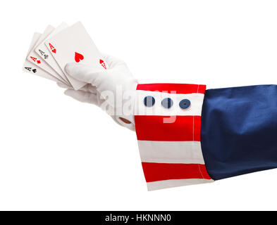 President With Four Aces in Hand Isolated on White Background. - Stock Photo