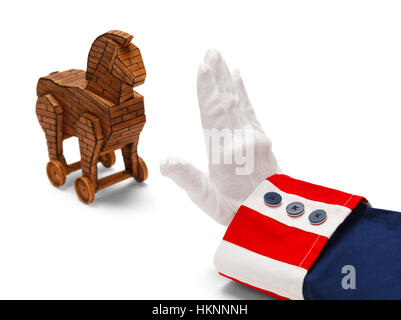 President With Stop Hand to Wooden Trojan Horse Isolated on White. - Stock Photo