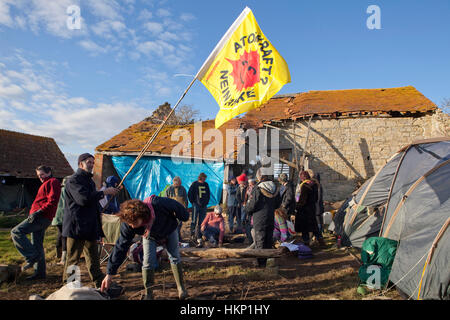 Anti nuclear protest at Hinkley Point north Somerset . Protesters have occupied a  farmhouse as EDF clear the land - Stock Photo
