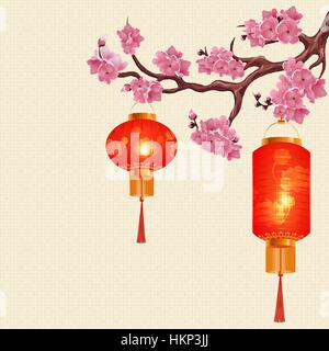 Two red Chinese lanterns and a round cylindrical shape on a branch of cherry with pink flowers. illustration - Stock Photo