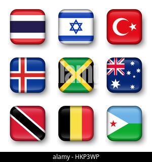 Set of world flags quadrangular badges ( Thailand . Israel . Turkey . Iceland . Jamaica . Australia . Trinidad and - Stock Photo