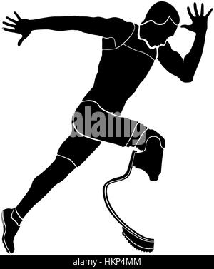 explosive runner athlete disabled amputee black silhouette - Stock Photo