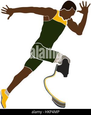 explosive brazilian runner athlete disabled amputee - Stock Photo