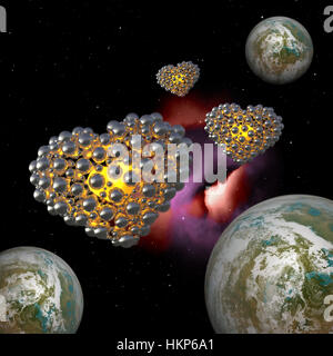 metal golden hearts made of spheres with reflections isolated space planet earth background. Happy valentines day - Stock Photo