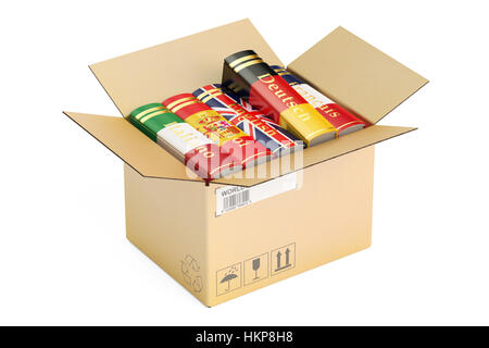 Opened cardboard box with language books, 3D rendering isolated on white background - Stock Photo