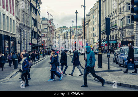 Looking down Regent Street from Piccadilly Circus in London, UK. - Stock Photo