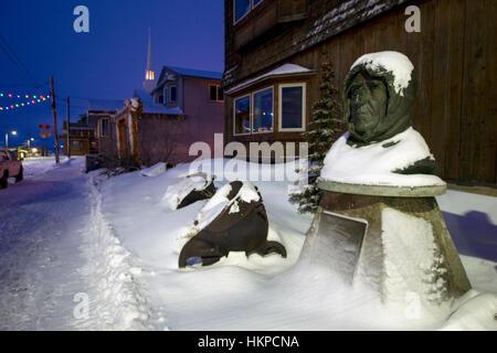 Front Street in Nome Alaska 2017. Bust of Polar Explorer Roald Amundsen. Amundsen was born to a family of Norwegian - Stock Photo