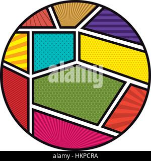 colorful circular shape in pop art vector illustration - Stock Photo