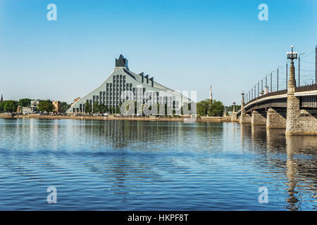 View over the river Western Dvina (Daugava) to the building of the National Library of Latvia, Riga, Baltic States, - Stock Photo
