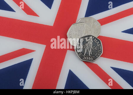 Three Battle of Hastings 1066 50 pence, 50p, pieces on a Union Jack. - Stock Photo